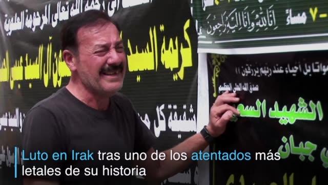irak se vestia de luto luego de sufrir uno de los peores atentados de su historia con mas de 200 muertos y mas de 200 heridos - luto stock videos and b-roll footage