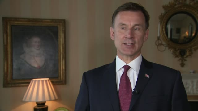 iran demands release of tanker of iranian oil seized by royal marines in gibraltar; england: int jeremy hunt mp interview sot - i'm being briefed on... - 英国海兵隊点の映像素材/bロール
