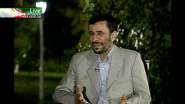 iran denies accusations it is seeking to develop nuclear weapons; mahmoud ahmadinejad live interview - we do not believe in war and it is the last... - nuclear weapon stock videos & royalty-free footage