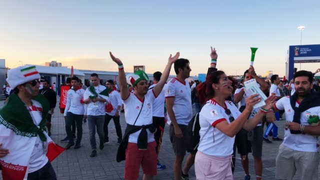iran fans ahead of the game against spain iran v spain during the 2018 fifa world cup russia group b match between iran and spain at kazan arena on... - b rolle stock-videos und b-roll-filmmaterial