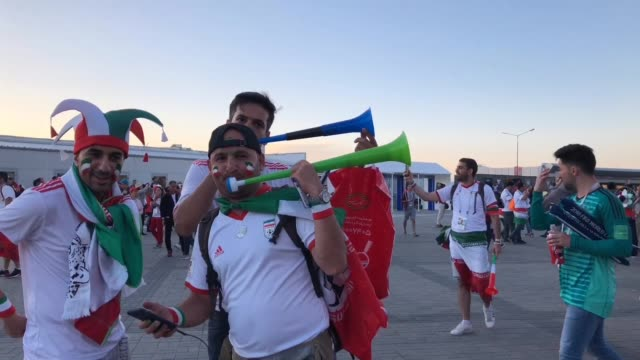 Iran fans ahead of the game against Spain Iran v Spain during the 2018 FIFA World Cup Russia group B match between Iran and Spain at Kazan Arena on...