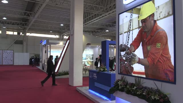 iran holds the 25th international exhibition of oil, gas, refining and petrochemicals in capital tehran with the attendance of over 500 exhibitors.... - sparks stock videos & royalty-free footage