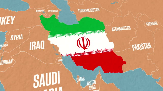 Iran Map and Flag on World Map