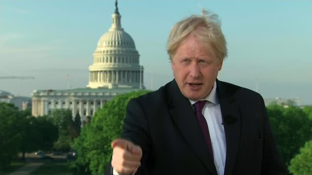 boris johnson appears on donald trump's favourite news programme to argue for keeping the deal intact washington ext boris johnson interview sot [re... - boris johnson stock videos and b-roll footage