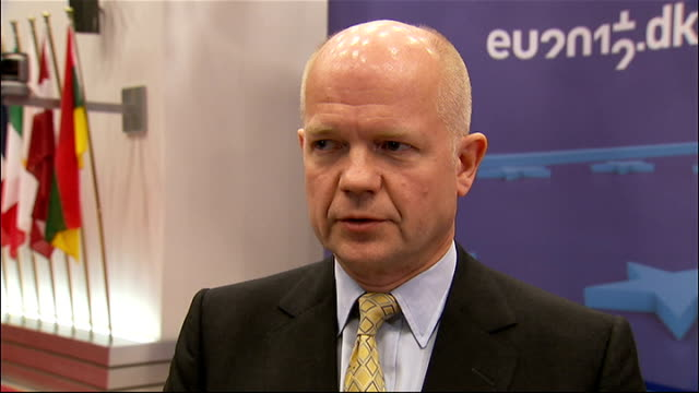 Iran threatens to close Strait of Hormuz after diplomatic row with EU INT William Hague MP arriving to speak to press William Hague MP interview SOT...