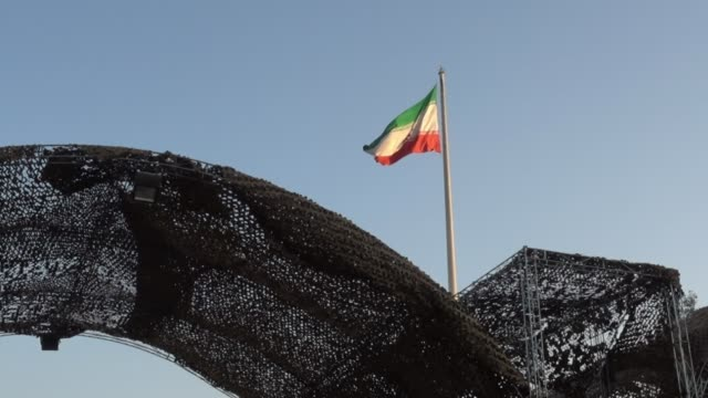 iranian flag during behind a military gate - military stock videos & royalty-free footage