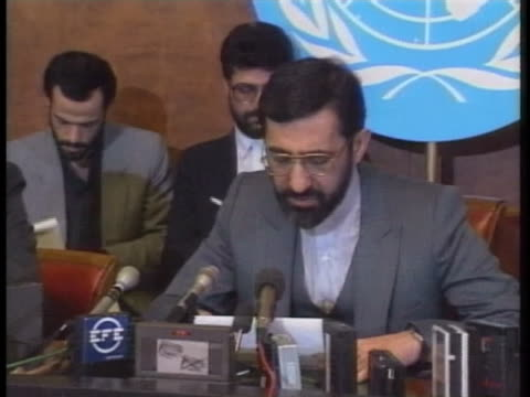 vídeos de stock, filmes e b-roll de iranian foreign minister ali akbar velayati says that the allied bombing of a civilian bunker in iraq is a catastrophe that happened as a result of... - civil