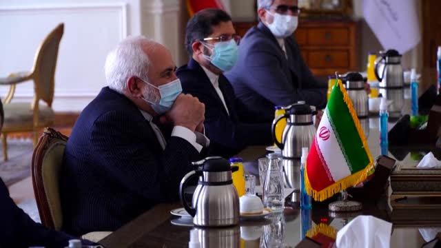 iranian foreign minister javad zarif meets his irish counterpart simon coveney in tehran amid diplomatic efforts to revive a landmark nuclear deal - government minister stock videos & royalty-free footage