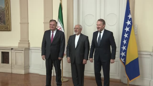 Iranian Foreign Minister Mohammad Javad Zarif meets with members of Bosnia's tripartite presidency Mladen Ivanic and Bakir Izetbegovic in Sarajevo...