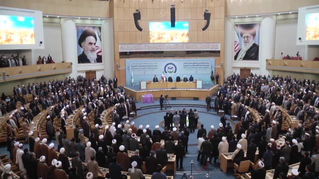 iranian president hassan rouhani and secretary general of the world forum for proximity of islamic schools of thought ayatollah mohsen araki attend... - president stock videos & royalty-free footage