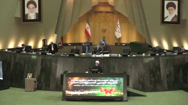 vidéos et rushes de iranian president hassan rouhani attends a parliamentary session to present next year's budget bill on december 25, 2018 in tehran, iran. - politics and government