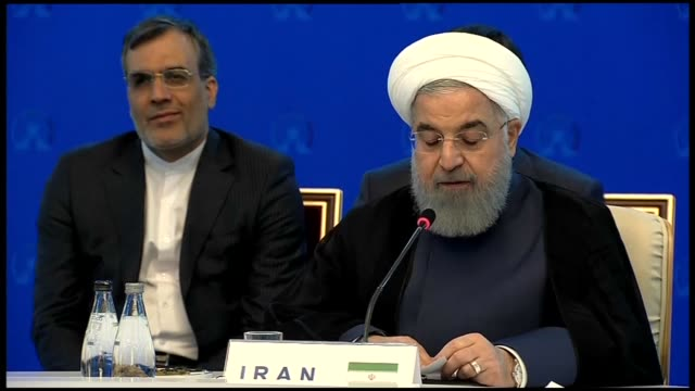 iranian president hassan rouhani speaks during the trilateral summit on syria alongside his turkish counterpart recep tayyip erdogan and russian... - president stock videos & royalty-free footage