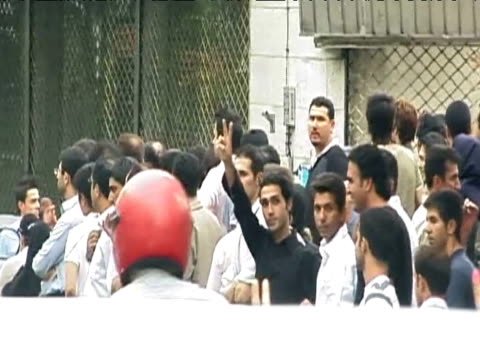 iranian protesters stand by roadside demonstrating against results of presidential elections tehran 14 june 2009 - 2009 stock videos & royalty-free footage