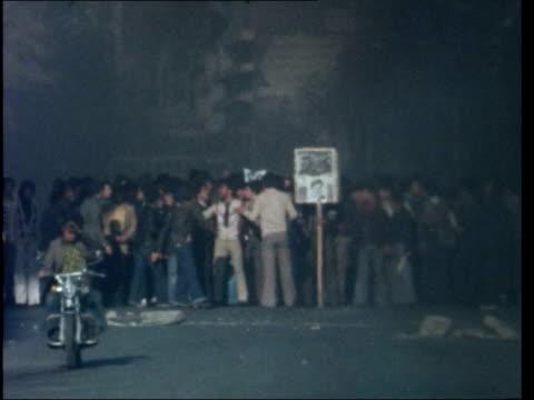 "tehran demos; a) sunday demo iran: tehran: ext cms lewis: sof: ""it began.........................centre"" pan barricade fire in street demos across... - revolution stock videos & royalty-free footage"