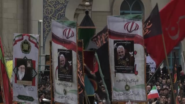 iranians take part in an antius rally to protest the killings during a us air strike of iranian military commander qasem soleimani and iraqi... - tehran stock videos & royalty-free footage