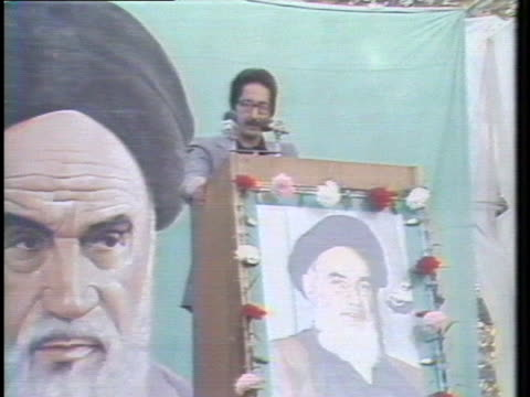 iran's foreign minister abolhassan banisadr addresses a crowd gathered at tehran university - (war or terrorism or election or government or illness or news event or speech or politics or politician or conflict or military or extreme weather or business or economy) and not usa stock videos & royalty-free footage