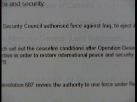 clare short speaks out despite gagging letter; itn css summary of attorney general's two page report advising cabinet on legality of war on website... - 男爵夫人点の映像素材/bロール