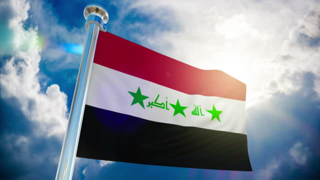 4k - iraq flag | loopable stock video - iraqi flag stock videos and b-roll footage