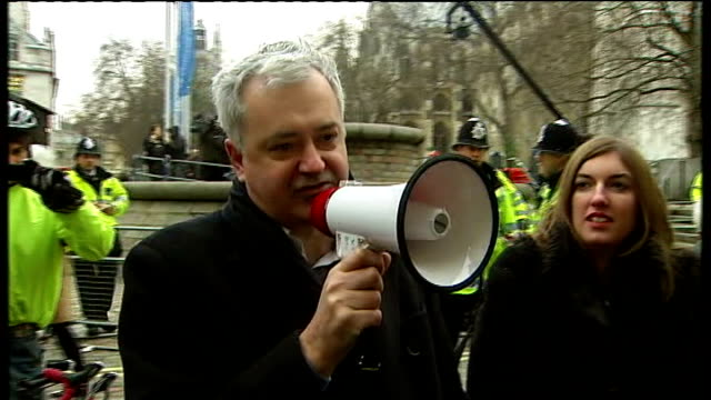 protest speeches; andrew murray speech sot - thank you for all coming here this morning - our presence here is the sign of one important truth that... - seguire attività che richiede movimento video stock e b–roll