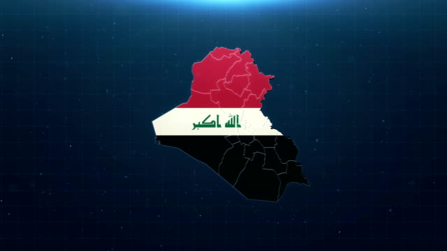 4k iraq map with national flag - baghdad stock videos & royalty-free footage