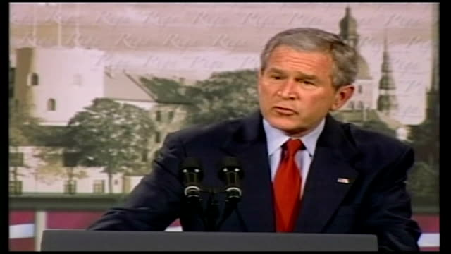 iraq study group calls for change in foreign policy lib riga int george w bush press conference sot i'm not going to pull our troops off the... - iraq study group stock videos & royalty-free footage