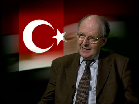iraq threat over missile disarmament timetable itn england london professor william hale interview sot talks about how the turks are afraid that the... - disarmament stock videos and b-roll footage