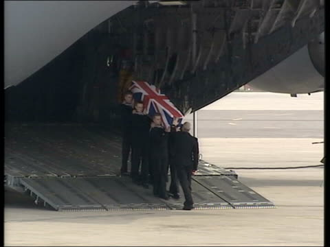 vídeos de stock, filmes e b-roll de widow calls for information on husband's death; lib ???: ext transport plane used to return bodies of dead servicemen to the uk lms coffin carried... - widow