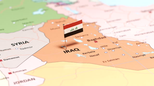 iraq with national flag - iraqi flag stock videos and b-roll footage