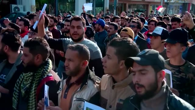 iraqi anti government demonstrators protest in the shiite holy city of karbala reviving the opposition movement against the authorities and adding... - karbala stock videos & royalty-free footage