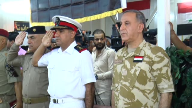 iraqi defense minister khaled alobaidi speaks to the press regarding operations against daesh militants in regions of fallujah and saladin on june 29... - al fallujah stock videos and b-roll footage