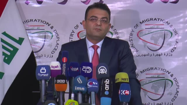 Iraqi Displacement and Migration Minister Jassim Mohammed AlJaaf holds a press conference in Baghdad Iraq on January 17 2018