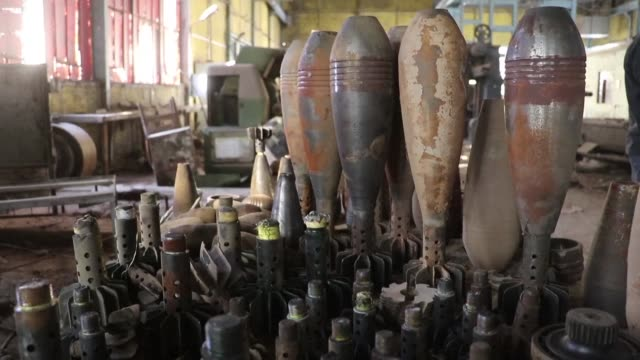 iraqi forces south of mosul discovered two factories used by the islamic state group to manufacture mortars and rockets during their offensive on the... - mortar weapon stock videos & royalty-free footage