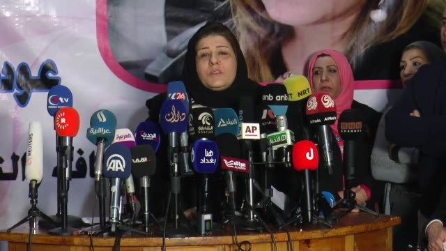 Iraqi journalist Afrah Shawqi holds a press conference after being released by her kidnappers in Baghdad Iraq on January 04 2017 Journalist Afrah...