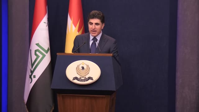 Iraqi Kurdish Regional Government Prime Minister Nechirvan Barzani makes a speech during a press conference after weekly cabinet meeting in Erbil...