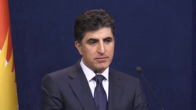 Iraqi Kurdish Regional Government Prime Minister Nechirvan Barzani holds a press conference on Iraq's central government's ban on international...
