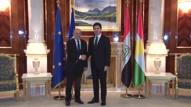 Iraqi Kurdish Regional Government Prime Minister Nechirvan Barzani and French Foreign Minister JeanYves Le Drian hold a meeting in Erbil on February...