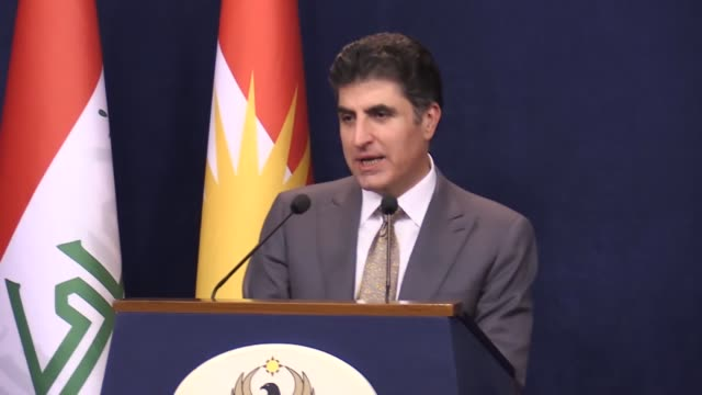 Iraqi Kurdish Regional Government Prime Minister Nechirvan Barzani speaks at a weekly press conference following the cabinet meeting in Erbil Iraq on...