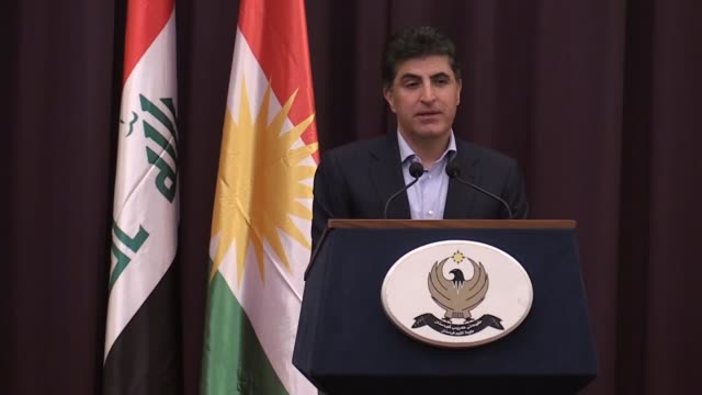 Iraqi Kurdish Regional Government Prime Minister Nechirvan Barzani speaks at a press conference after casting his ballot in the parliamentary...