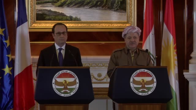 iraqi kurdistan regional government president masoud barzani and french president francois hollande attend a joint press conference following their... - françois hollande stock videos & royalty-free footage