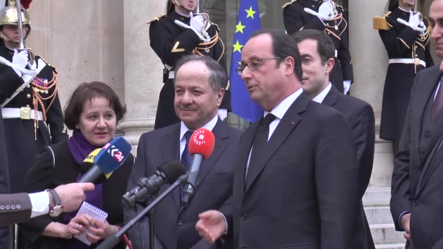 iraqi kurdistan regional government president masoud barzani meets with french president francois hollande at elysee palace in paris, france on... - françois hollande stock videos & royalty-free footage