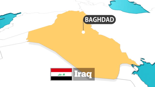 iraqi map with flag - iraqi flag stock videos and b-roll footage