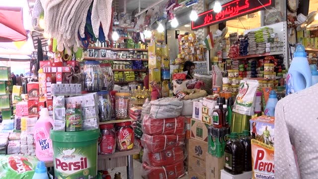 Iraqi muslims shop for coming Ramadan in spite of their difficulties at Qaysari Bazaar in Arbil Iraq on June 16 2015 Footage by Ferhat Jahan Panah /...