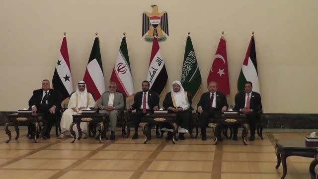 iraqi parliament speaker mohammed alhalbousi turkish parliament speaker mustafa sentop jordanian parliament speaker atef tarawneh kuwaiti national... - g8:s toppmöte bildbanksvideor och videomaterial från bakom kulisserna