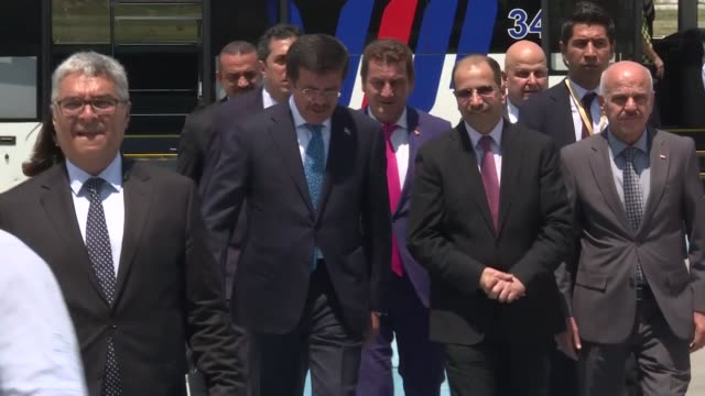 iraqi parliament speaker salim aljubouri is welcomed by turkish economy minister nihat zeybekci upon his arrival at esenboga airport in ankara turkey... - governmental occupation stock videos & royalty-free footage