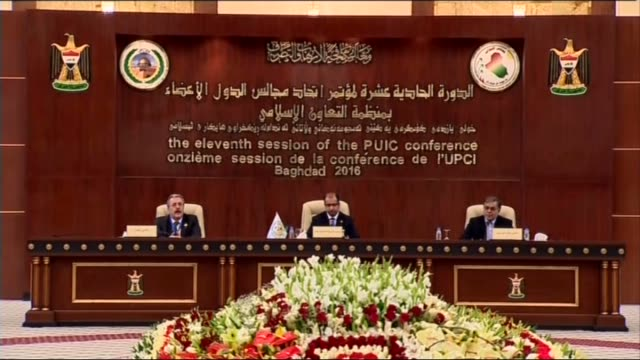 vídeos de stock, filmes e b-roll de iraqi parliament speaker salim aljuburi gives a speech during the 11th session of the parliamentary union of the organization of islamic cooperation... - bagdá