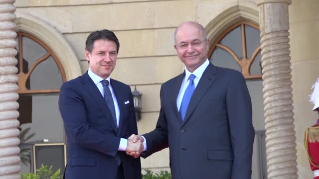iraqi president barham saleh meets with italian prime minister giuseppe conte at salam presidential palace in the capital baghdad - governmental occupation stock videos & royalty-free footage