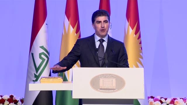 iraqi president barham salih parliament speaker mohammad alhalbousi former president of iraqi kurdish regional government masoud barzani turkish... - foreign minister stock videos and b-roll footage