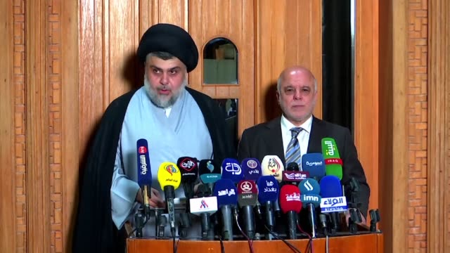 iraqi prime minister haider alabadi and nationalist cleric moqtada sadr say they have formed an alliance in a bid to create a new government after... - muqtada al sadr stock videos & royalty-free footage