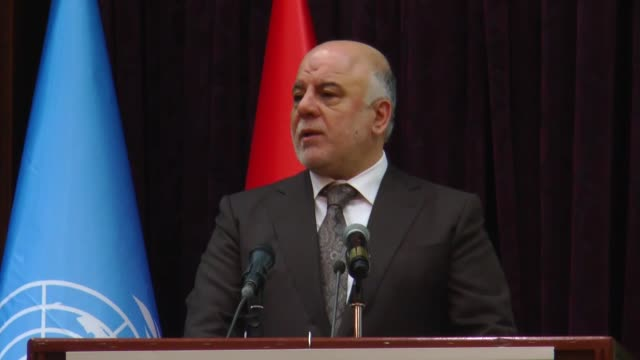 iraqi prime minister haider alabadi and united nations resident coordinator and humanitarian coordinator for iraq lisa grande attend a undp's... - iraqi prime minister stock videos & royalty-free footage