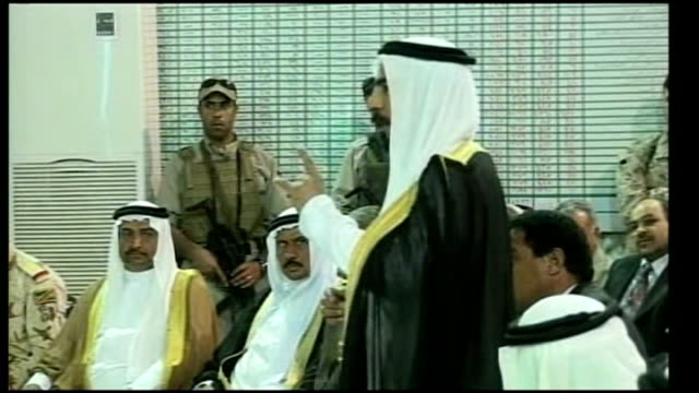 iraqi prime minister meets sunni sheikh abdul sattar almaliki greeting sheikhs sheikhs talking and arguing during meeting cameras leaving room people... - iraqi prime minister stock videos & royalty-free footage